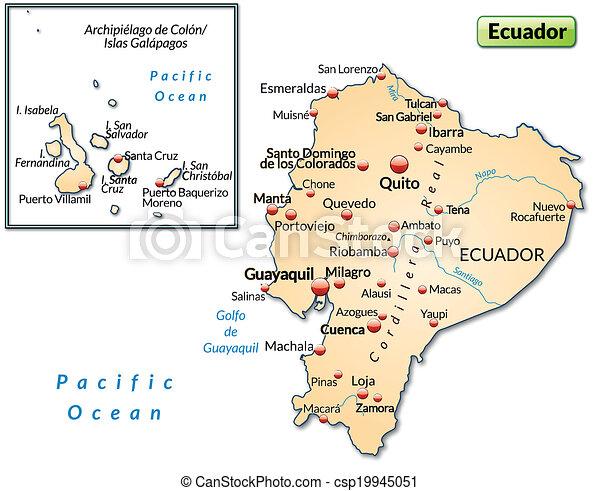 Map of ecuador as an overview map in pastel orange map of ecuador csp19945051 publicscrutiny Choice Image