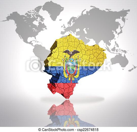 Map of ecuador with ecuadorian flag on a world map background map of ecuador csp22674818 publicscrutiny Choice Image