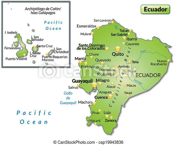 Map of ecuador as an overview map in green vectors search clip art map of ecuador csp19943836 publicscrutiny Choice Image