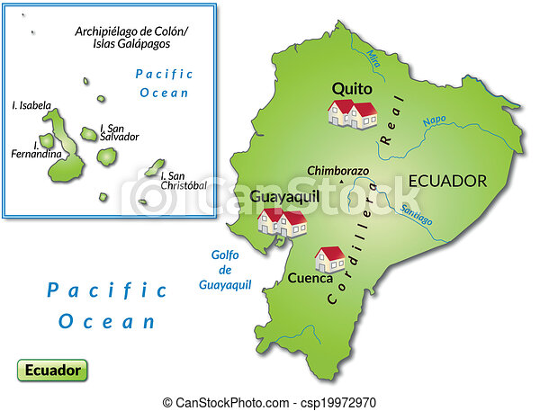 Map of ecuador as an infographic in green vectors illustration