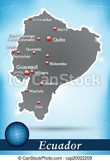 Map of ecuador with abstract background in blue map of ecuador csp20022209 publicscrutiny Choice Image