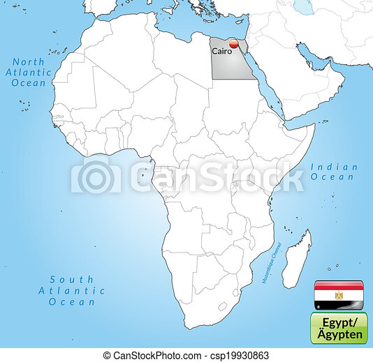 Map of egypt with main cities in gray.