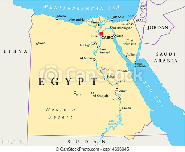 Map Of Egypt Map Of Egypt With National Borders Most Important