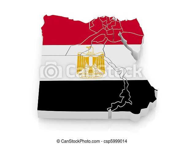 Map of Egypt in egyptian flag colors - csp5999014