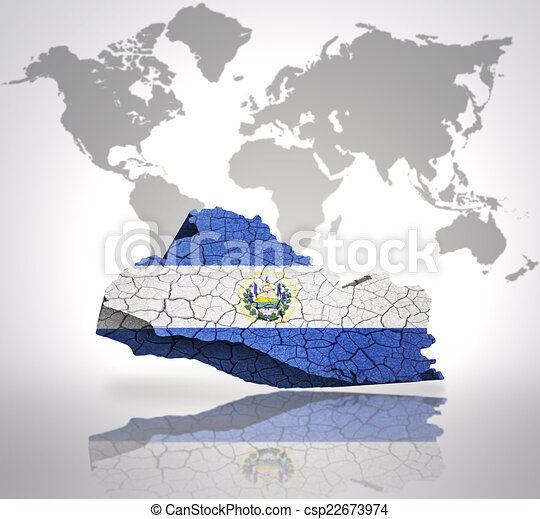 Map of el salvador with el salvador flag on a world map stock map of el salvador csp22673974 gumiabroncs Choice Image