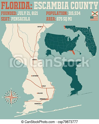 Map of Escambia County in Florida - csp79873777