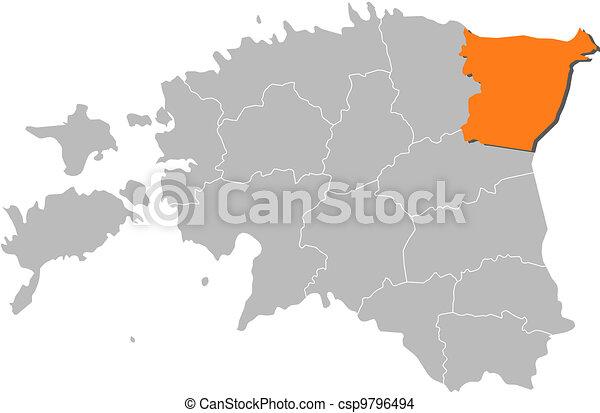 map of estonia ida viru highlighted csp9796494