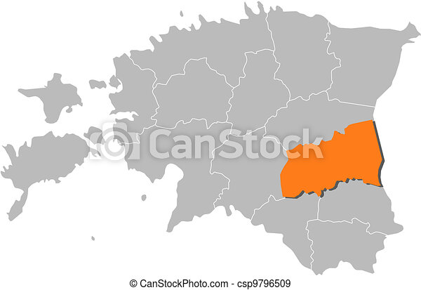 Map of estonia, tartu highlighted. Political map of estonia with the ...