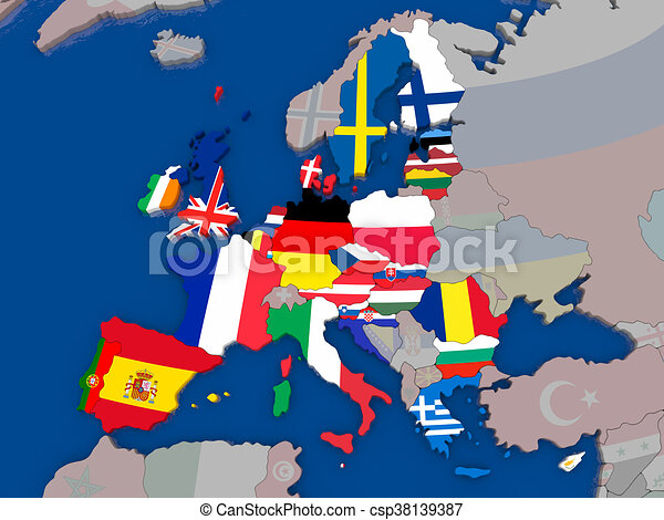 Map Of Eu Map Of European Union Before Brexit With Flags Of
