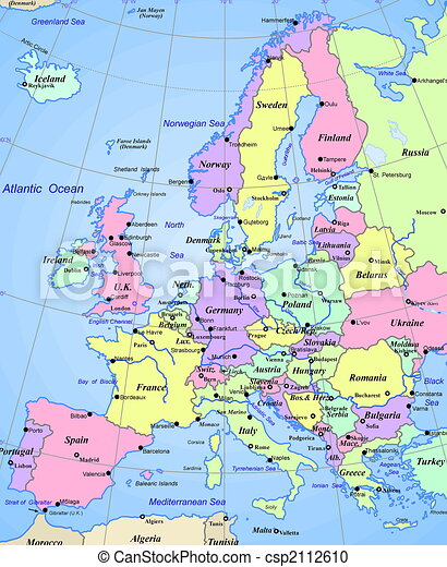 karta europa Map of europe continent. Abstract map of europe continent. karta europa