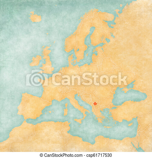 Map Of Europe Kosovo Kosovo On The Map Of Europe In Soft Grunge