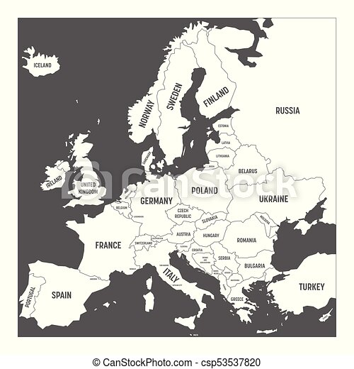 Map of Europe with names of sovereign countries, ministates included. Simplified white vector map on grey background - csp53537820