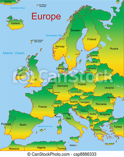 map of european continent csp8886333