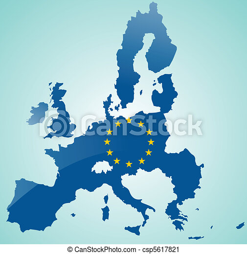 Map of European Union with flag of EU - csp5617821
