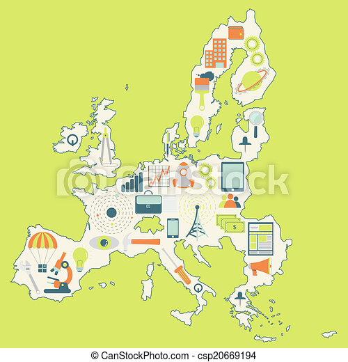Map of European Union with technolo - csp20669194