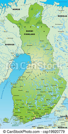 finland karta Map of finland as an overview map in green. finland karta