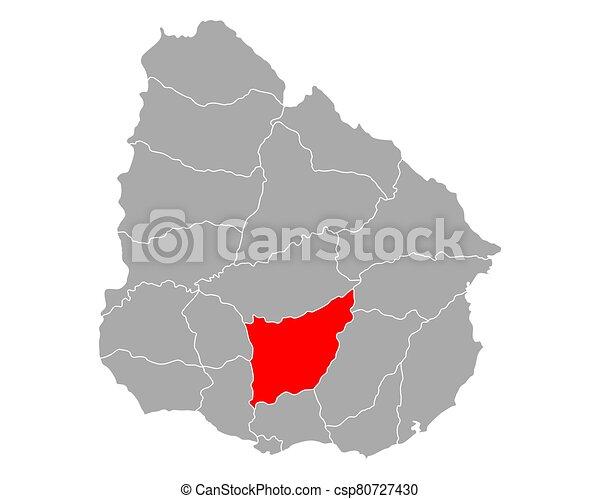 Map of Florida in Uruguay - csp80727430