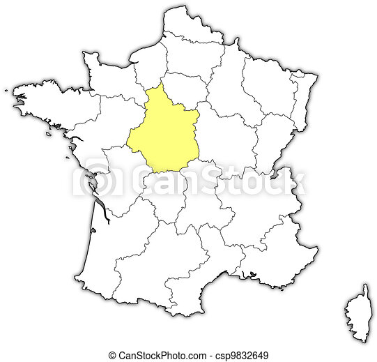 Map of France, Centre highlighted - csp9832649