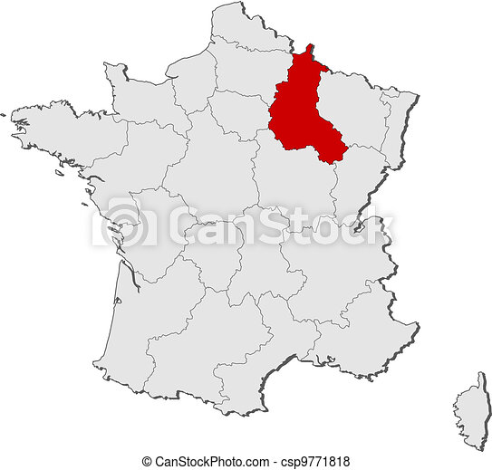 Map of france, champagne-ardenne highlighted. Political map of ... Champagne France Map on