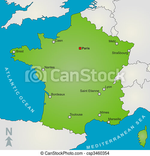 A stylized map of france showing several big cities and drawing