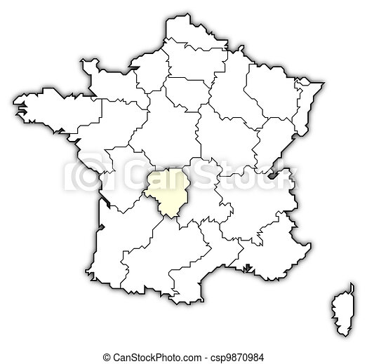 Map Of France Limousin Highlighted Political Map Of France With