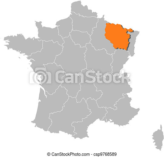 Map of France, Lorraine highlighted - csp9768589
