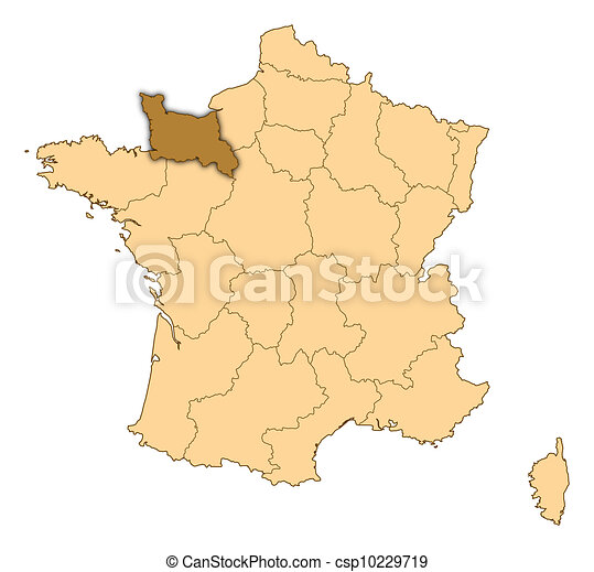 Map of france lower normandy highlighted map of france clipart map of france lower normandy highlighted csp10229719 gumiabroncs Images