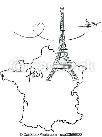 Map Of France With Paris.Map Of France With Eiffel Tower