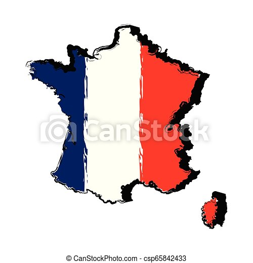 Map of France with flag - csp65842433