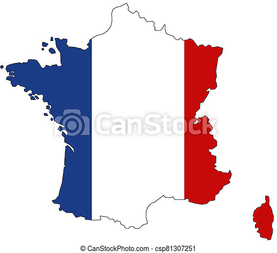Map of France with flag - csp81307251