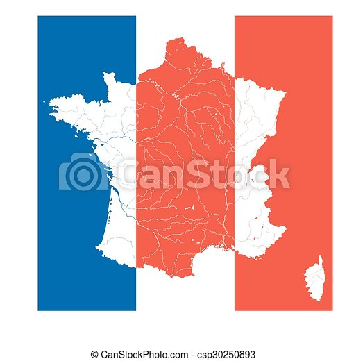 Map of France with rivers on the French flag. - csp30250893