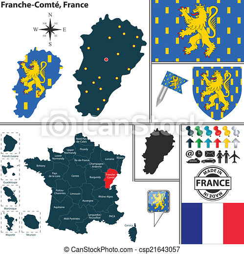 Map of franchecomte france Vector map of state clipart vector