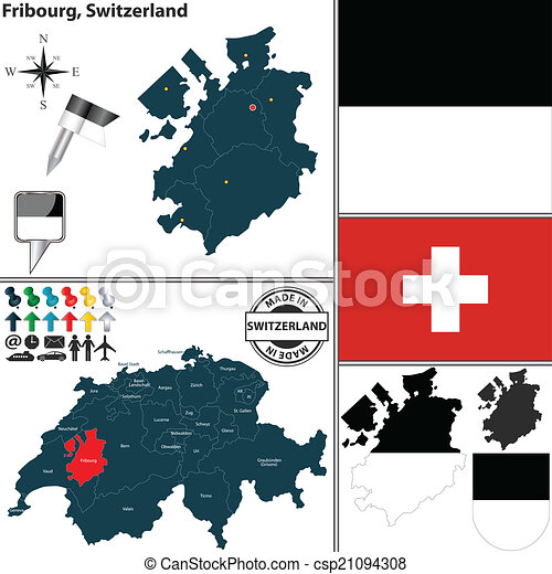 Map of fribourg switzerland Vector map of canton fribourg