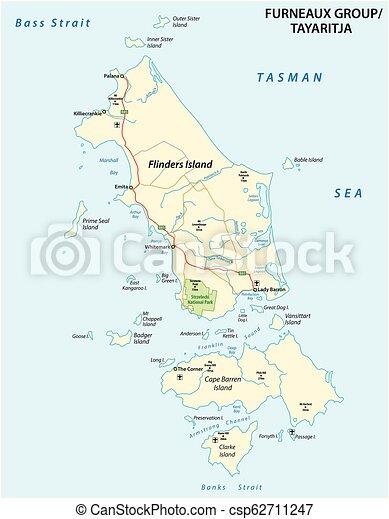 Map Australia Tasmania.Map Of Furneaux Group Flinders Island Tasmania Australia