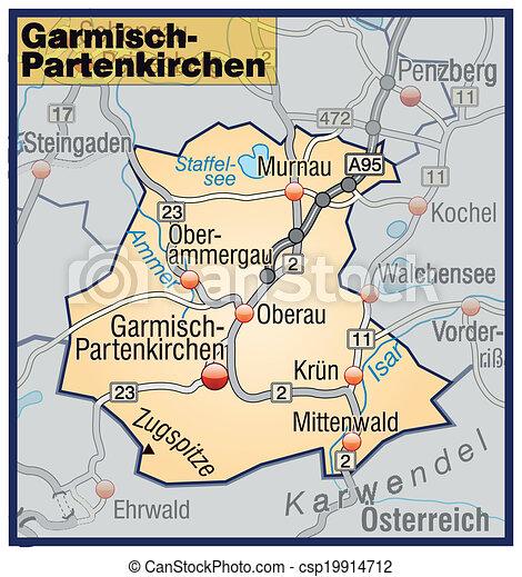 Map Of Garmisch Partenkirchen With Highways In Pastel Orange