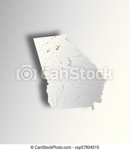 Map of Georgia state with lakes and rivers.