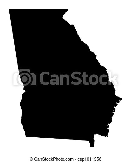 Stock Illustration Of Map Of Georgia USA Detailed Isolated Bw - Map of georgia usa