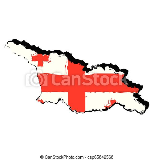 Map of Georgia with flag - csp65842568
