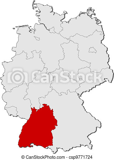 Map of germany, baden-wuerttemberg highlighted. Political map of ...
