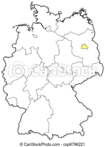 Vector Clip Art Of Map Of Germany Berlin Highlighted Political - Germany map drawing