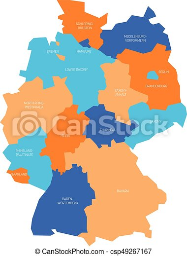 Hamburg Map Of Germany.Map Of Germany Devided To 13 Federal States And 3 City States Berlin Bremen And Hamburg Europe Simple Flat Vector Map In Four Colors With White