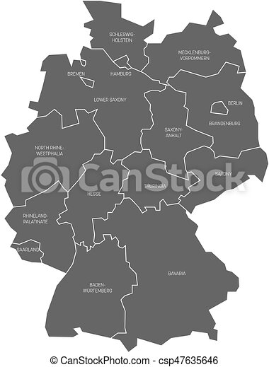 Hamburg Map Of Germany.Map Of Germany Devided To 13 Federal States And 3 City States Berlin Bremen And Hamburg Europe Simple Flat Grey Vector Map With White Labels