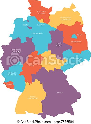 Map Of Germany With States.Map Of Germany Devided To 13 Federal States And 3 City States Berlin Bremen And Hamburg Europe Simple Flat Vector Map In Four Colors With White