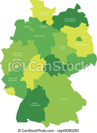 Map of Germany devided to 13 federal states and 3 city-states - Berlin,  Bremen and Hamburg, Europe. Simple flat vector map in shades of green