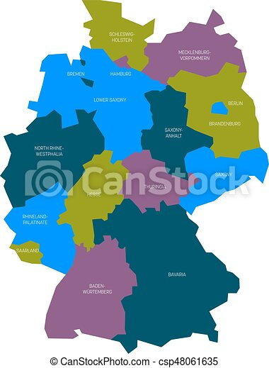 map of germany devided to 13 federal states and 3 city states berlin bremen and hamburg europe