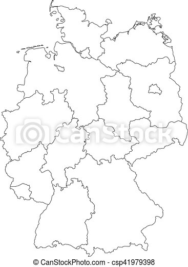 map of germany divided to federal states csp41979398