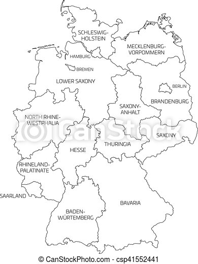 map of germany divided to federal states csp41552441