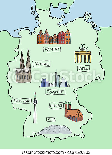 Vectors Of Map Of Germany Germany Famous Places On A Doodle - Germany map drawing