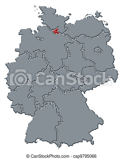Map of germany, hamburg highlighted. Political map of germany with ...