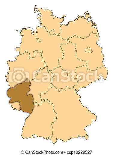 Map of germany rhinelandpalatinate highlighted Map of stock